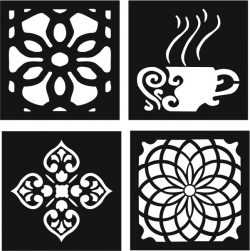 Decorative motifs of flower squares and coffee cups file cdr and dxf free vector download for Laser cut CNC