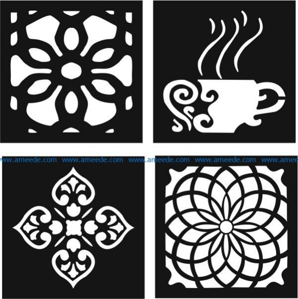 Decorative Motifs Of Flower Squares And Coffee Cups File Cdr And Dxf Free Vector Download For Laser Cut Cnc Download Free Vector