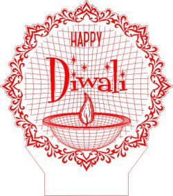 Diwali holidays 3D illusion led lamp file cdr and dxf free vector download for laser engraving machines