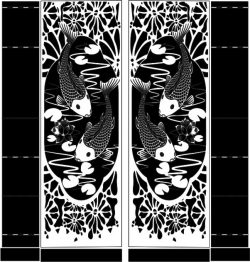 Double door carp file cdr and dxf free vector download for CNC cut
