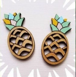 Earrings shaped pineapple file cdr and dxf free vector download for Laser cut