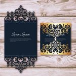 Elegant card with laser cut and gold detail file cdr and dxf free vector download for Laser