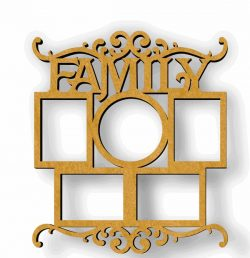 Family photo frame file cdr and dxf free vector download for Laser cut CNC