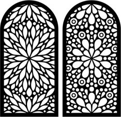 Flower-shaped window pattern file cdr and dxf free vector download for Laser cut CNC