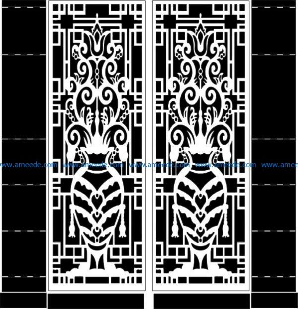 Flower vase door file cdr and dxf free vector download for CNC cut