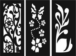 Flowers and plants decorated baffles file cdr and dxf free vector download for Laser cut CNC