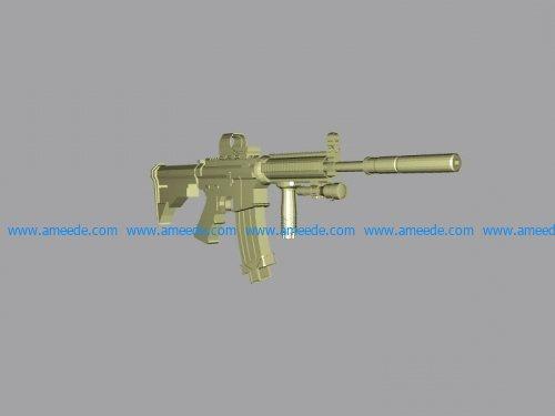 Gun M4A1 file stl and mtl obj vector free 3d model download for CNC or 3d print