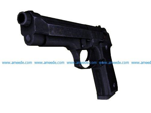 Gun M9 file stl and mtl obj vector free 3d model download for CNC or 3d print