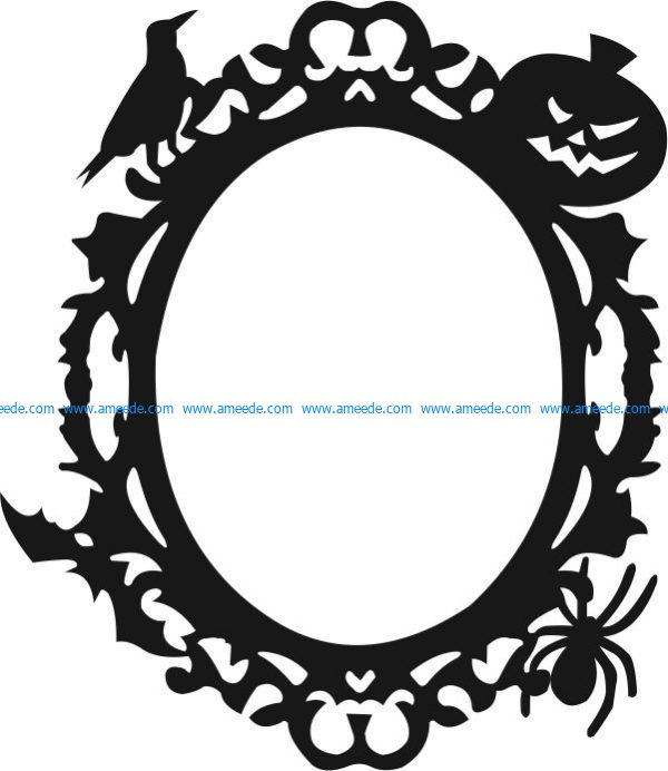 Halloween festival decoration frame file cdr and dxf free vector download for Laser cut CNC