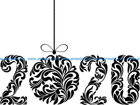Happy new year 2020 file cdr and dxf free vector download for printers or laser engraving machines