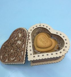 Heart shaped gift box file cdr and dxf free vector download for Laser cut CNC