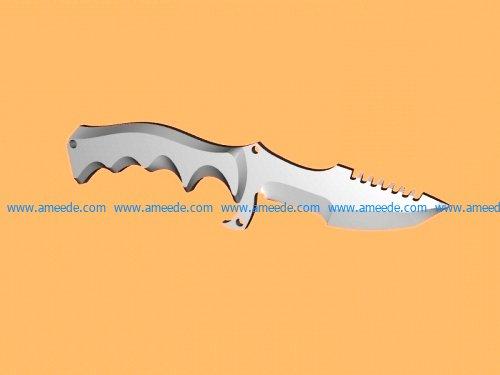 Huntsman knife file stl and mtl obj vector free 3d model download for CNC or 3d print