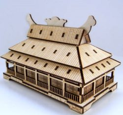Japanese style house model  file cdr and dxf free vector download for Laser cut CNC