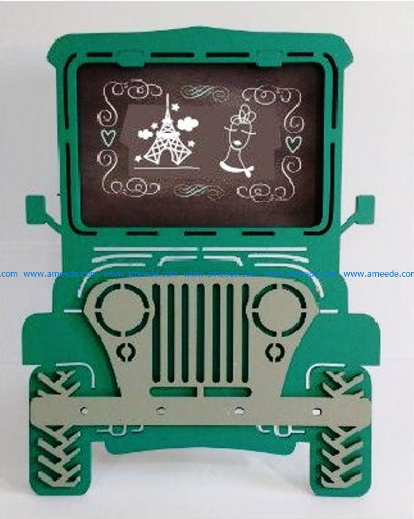 Jeep Picture Frame file cdr and dxf free vector download for Laser cut