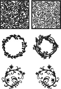 Laurel frame file cdr and dxf free vector download for Laser cut CNC