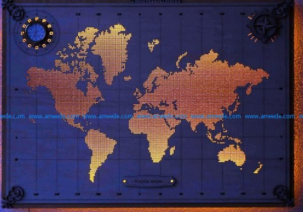 Led lights world map file cdr and dxf free vector download for Laser cut CNC