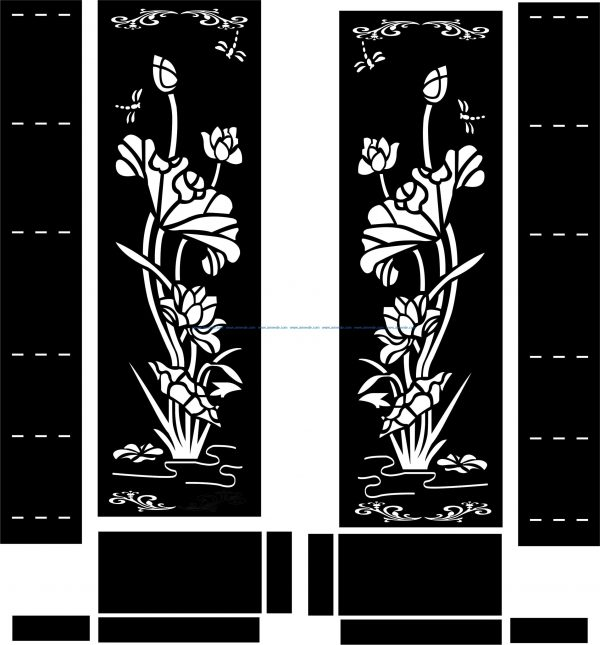 Lotus door file cdr and dxf free vector download for CNC cut