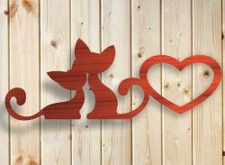 Love symbol between two cats file stl and bmp free vector download for CNC