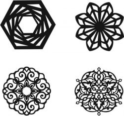 Mandala Silhouette file cdr and dxf free vector download for Laser cut Plasma