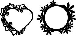 Mirror frame in heart shape and circle file cdr and dxf free vector download for CNC cut