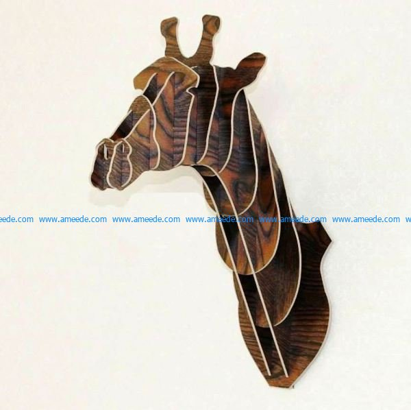 Model of giraffe head assembly file cdr and dxf free vector download for Laser