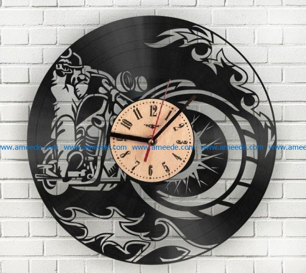 Motorcycle wall clock file cdr and dxf free vector download for Laser cut CNC