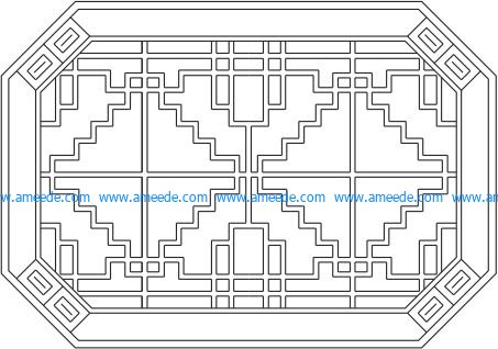 Octagonal baffle design template file cdr and dxf free vector download for Laser cut CNC