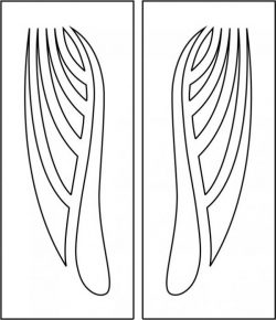 Pattern of wooden door with wings motifs file cdr and dxf free vector download for CNC cut