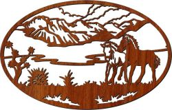 Picture of two horses in the field file cdr and dxf free vector download for Laser cut CNC