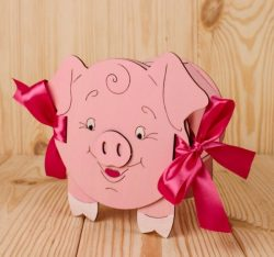 Pig-shaped savings box free vector download for Laser cut CNC