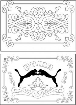 Puma decorative frame file cdr and dxf free vector download for Laser cut CNC