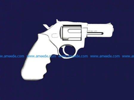 Revolver GUN file stl and mtl obj vector free 3d model download for CNC or 3d print