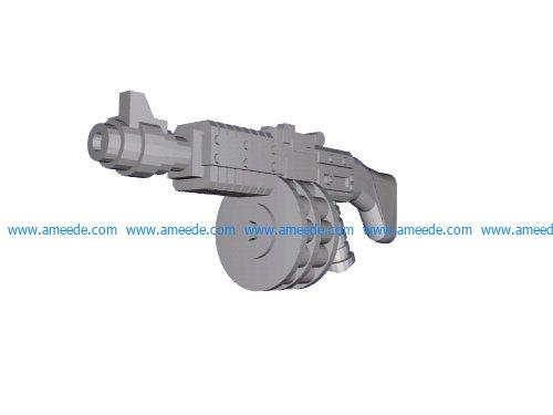 Ripper gun Ripper gun file stl and mtl obj vector free 3d model download for CNC or 3d print