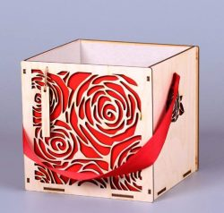 Rose gift box file cdr and dxf free vector download for Laser cut CNC