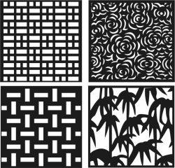 Roses, bamboo, decorative motifs square  file cdr and dxf free vector download for Laser cut