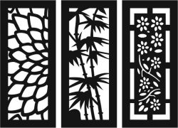 Sample baffle of flowers and bamboo file cdr and dxf free vector download for Laser cut CNC