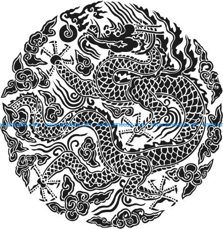 Scrolled dragon pattern file cdr and dxf free vector download for printers or laser engraving machines