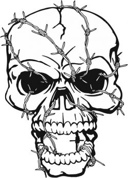 Skull and barbed wire file cdr and dxf free vector download for print or laser engraving machines
