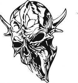 Skull with horns file cdr and dxf free vector download for print or laser engraving machines