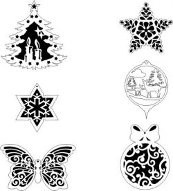 Snowflakes on a pine tree file cdr and dxf free vector download for Plasma