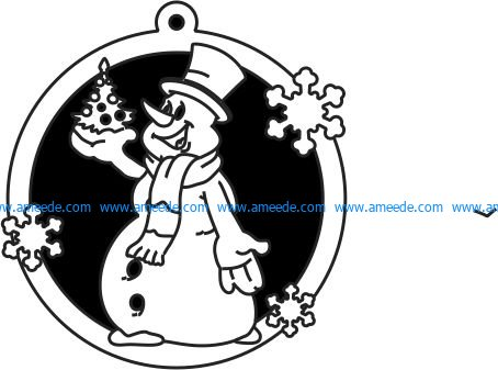 Snowman Decorated Christmas Tree File Cdr And Dxf Free Vector Download For Laser Cut Plasma File Decal Download Free Vector