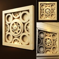Star flowers in the circles file FBX and max vector free 3d model download for CNC or 3d print