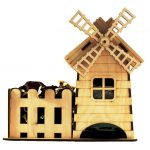 Tea house and windmill  file cdr and dxf free vector download for Laser cut CNC