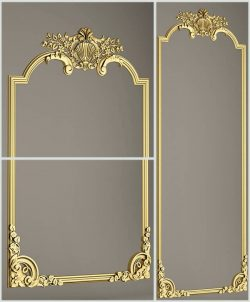 Template with golden frames 3ds Max Scene File free 3D Image download for CNC
