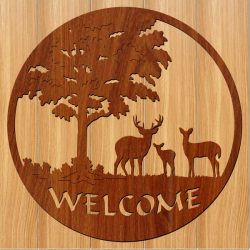 The picture of the deer welcomes you file cdr and dxf free vector download for Laser cut CNC