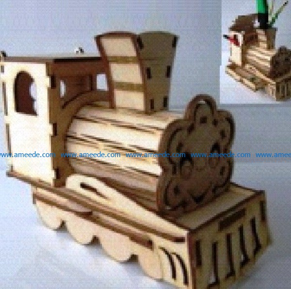 Train pen holder file cdr and dxf free vector download for Laser cut CNC