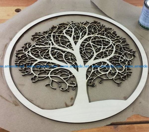 Tree pattern file cdr and dxf free vector download for Laser cut CNC