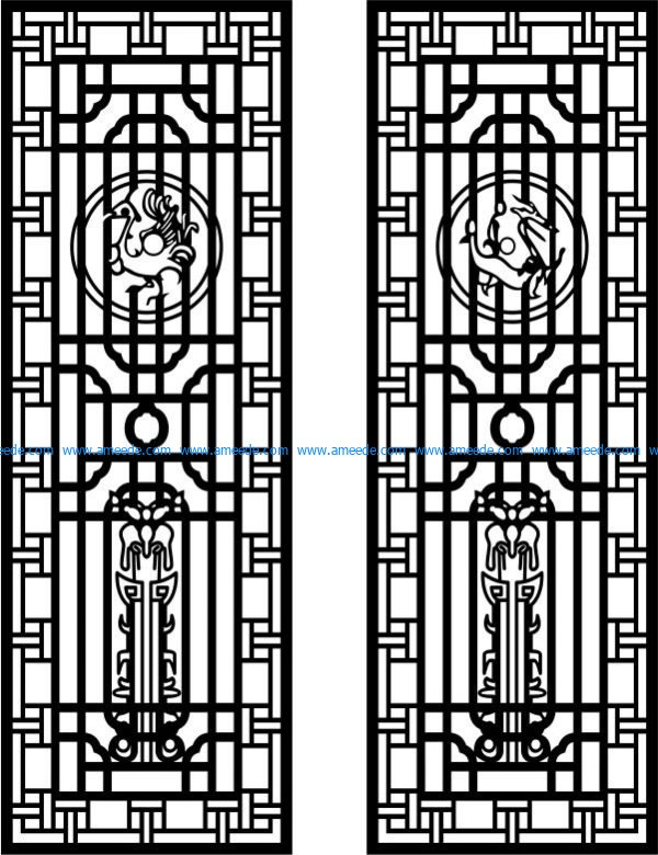 Two doors of dragon and phoenix free vector download for Laser cut CNC