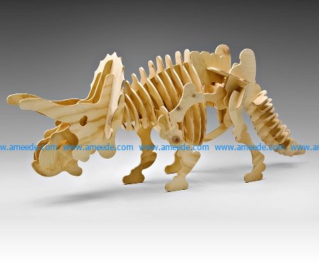 Two-horned dinosaur file cdr and dxf free vector download for Laser cut CNC