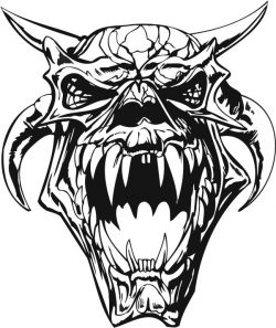 Monster Skull file cdr and dxf free vector download for print or laser engraving machines